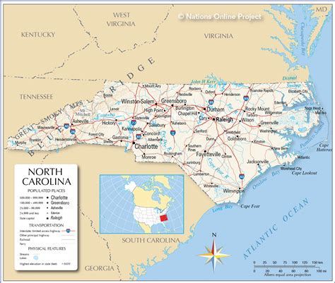 map world nc reference maps of carolina usa nations project