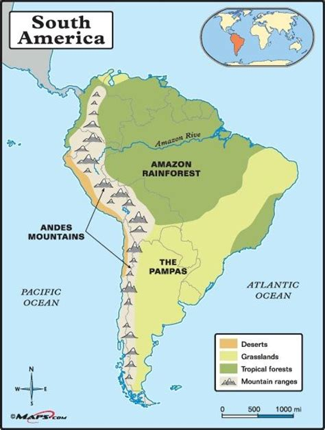 america map mountains and river andes map search south america