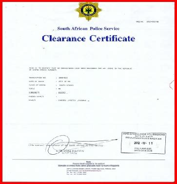 Sa Criminal Record Centre Home Clearance Certificate