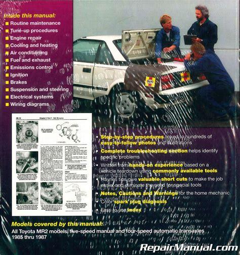 auto repair manual free download 1985 toyota mr2 spare parts catalogs haynes toyota mr2 1985 1987 auto repair manual