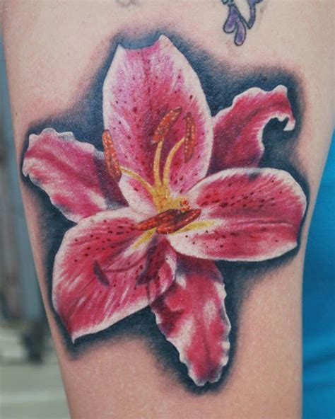 stargazer lily tattoo but in the colors of the cancers