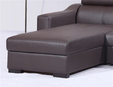 Contemporary Leather Sleeper Sofa Chocolate Brown Italian Leather Modern Sleeper Sectional Sofa