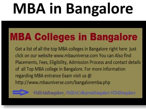 Best Mba Colleges In Bangalore 2016 by Ppt Top Mba Colleges In Bangalore Rank Wise Powerpoint