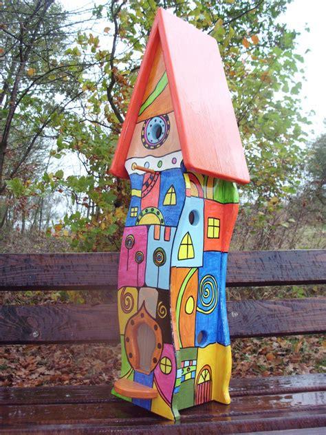 Vogelhaus Garten Deko vogelvilla vogelhaus nistkasten hundertwasser stil in
