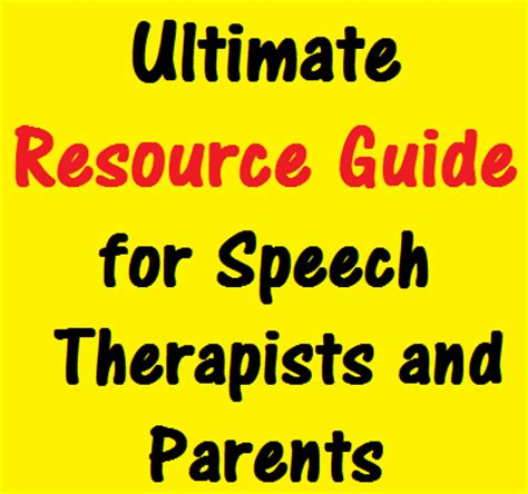 Therapy Resources Ultimate Resource Guide For Speech Therapists And Parents