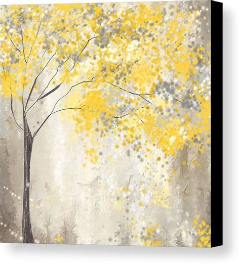 printable art gray and yellow yellow and gray tree canvas print canvas art by lourry