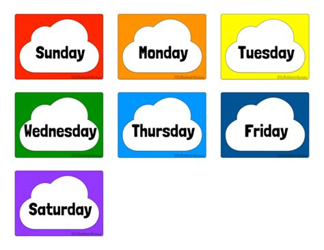 which day is today for week days of the week free printable flashcards for teaching esl