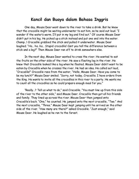 Novel Inggris 1 kancil dan buaya dalam bahasa inggris