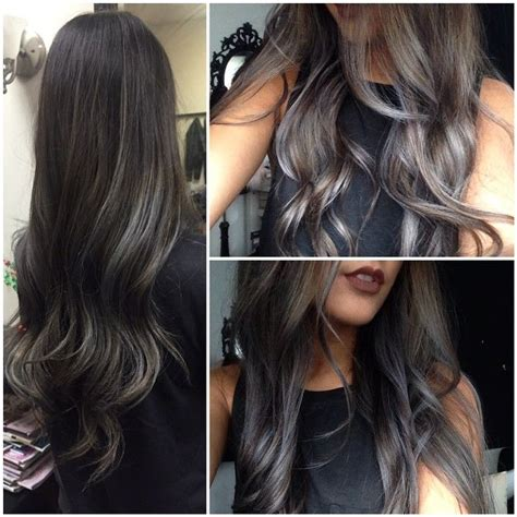 partial silver highlights looks perfect i love it hair make up pinterest