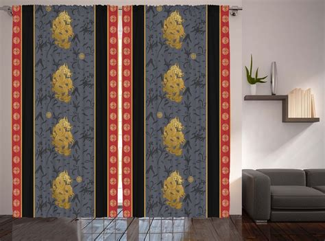 oriental style curtains asian style decor oriental chinese dragon print