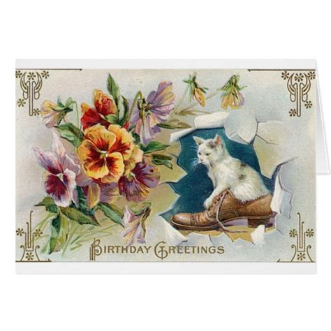 printable victorian birthday cards victorian white cat in shoe birthday card zazzle