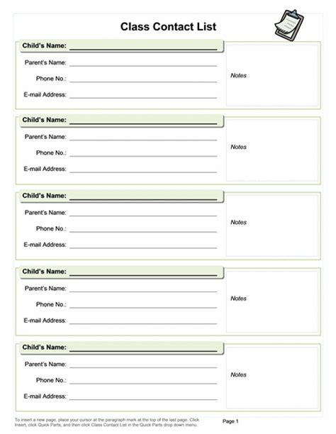 class contact list template class contact list and other useful templates classroom