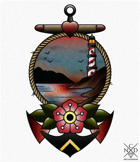 american traditional anchor tattoo anchor new traditional drawing