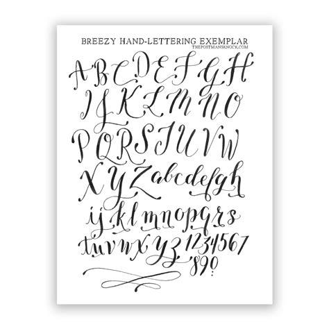 printable hand lettering fonts free basic breezy hand lettering exemplar the postman s
