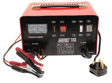 batteries chargers for cars maypole 716 12a metal battery charger 12 volt 24 volt