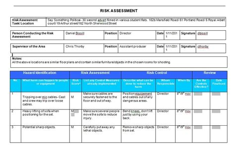 chemical risk assessment template 100 hazardous substances risk assessment template