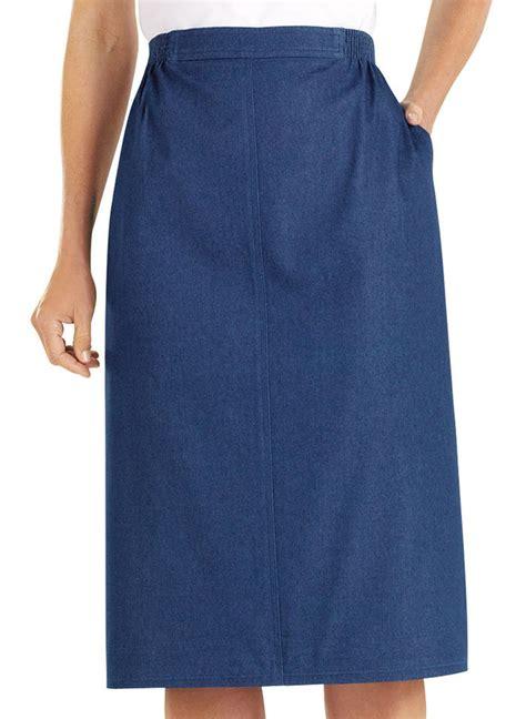alfred dunner flat front denim skirt amerimark
