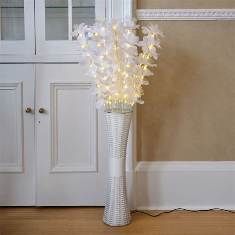 tall home decor floor standing fibre optic l flowers indoor white