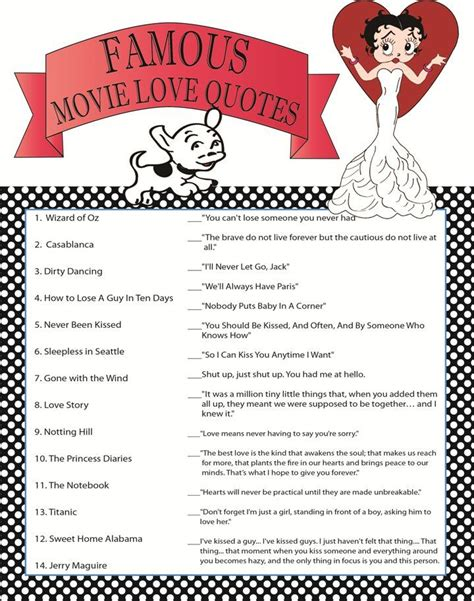 printable movie quotes game bridal shower game famous movie love quotes printable