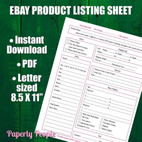 Ebay Products Listing Sheet 2 Versions Evernote Dropbox Ebay Selling Template