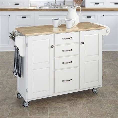 casters for kitchen island shop home styles white scandinavian kitchen cart at lowes
