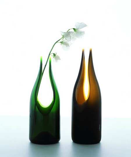 vessels and vases out of recycled wine bottle green