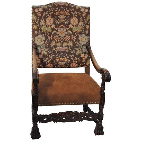 antique high back armchair antique high back european armchair with nailheads 19th