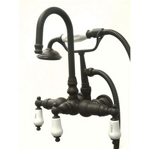 Rubbed Bronze 3 Handle Tub Shower Faucet by Kingston Brass 3 Handle Wall Mount Claw Foot Tub Faucet