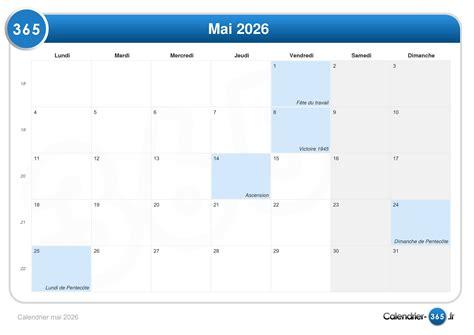 Calendrier 8 Mai Calendrier Mai 2026