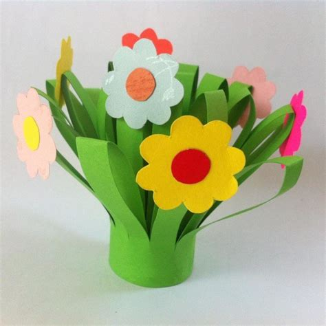 Paper Flower Bouquet Craft - construction paper flowers ideas diy projects craft ideas