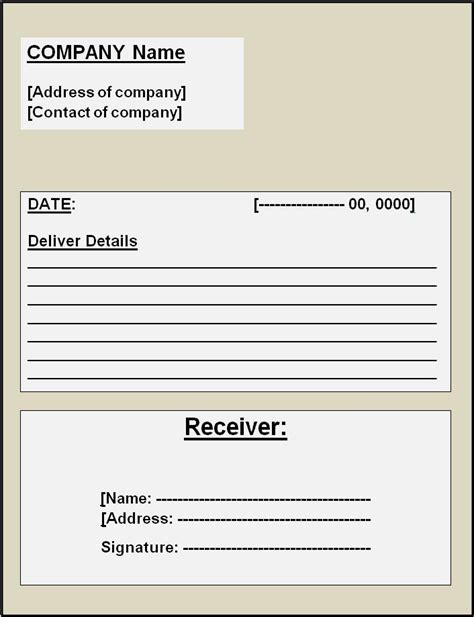 receipt of goods template sle goods delivery challan format word microsoft word