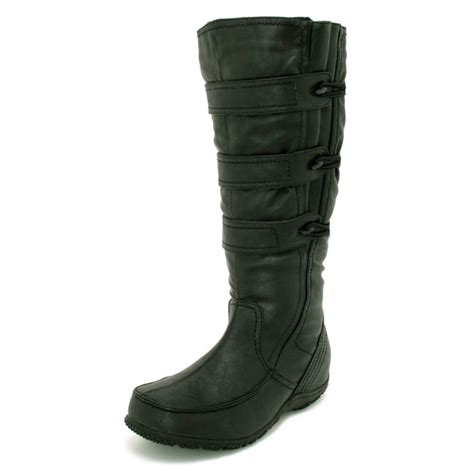 wide calf knee high boots womens black wide calf toggle knee high flat boots from