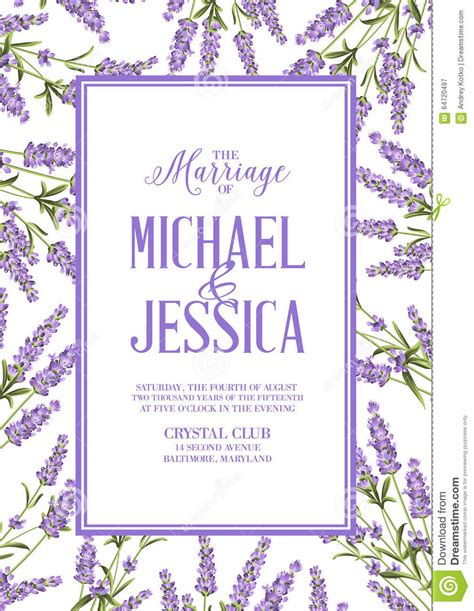 customized invitation cards free 2 lavender sign label stock vector image 64720497