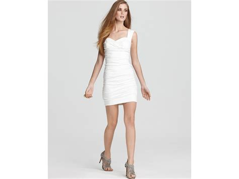 Nicoles Dress by Miller Dress Ruched Sweetheart In White Lyst