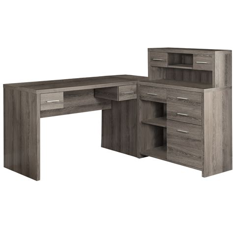 Kayla Taupe Corner Desk Office Desks Home Office Furniture Contemporary Corner Desk