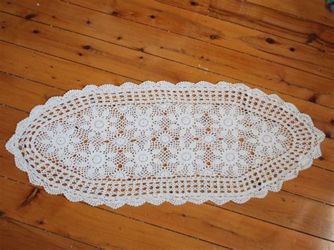 table runner for oval table crochet floral table runner 40x94cm oval ebay