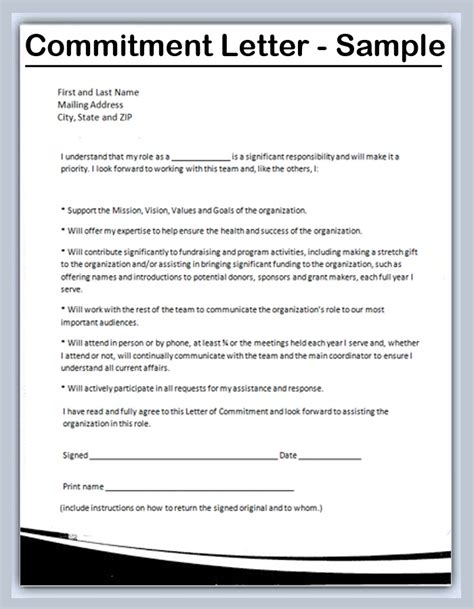 Letter Of Commitment Crna Cover Letter Letter Of Commitment Template