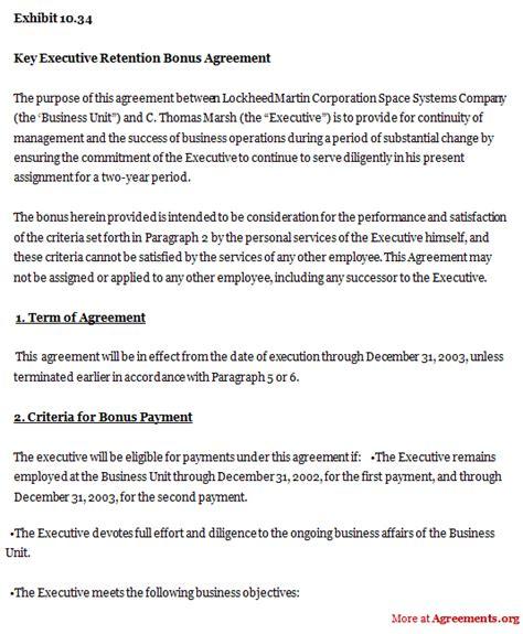 employee retention agreement template employee retention bonus agreement sle templates