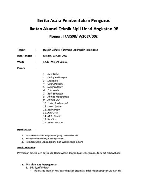 Contoh Notulen Lengkap by Notulen Pengurus Sipil 98 Lengkap 23 Apr 17 By Dedeset Issuu