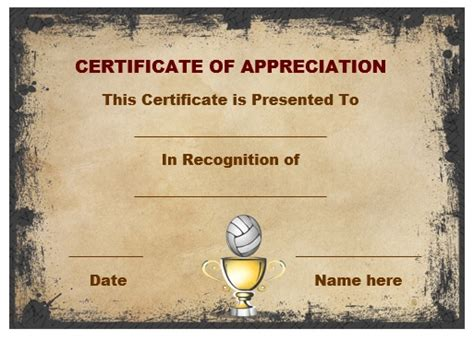 printable volleyball certificate templates volleyball certificate of appreciation volleyball