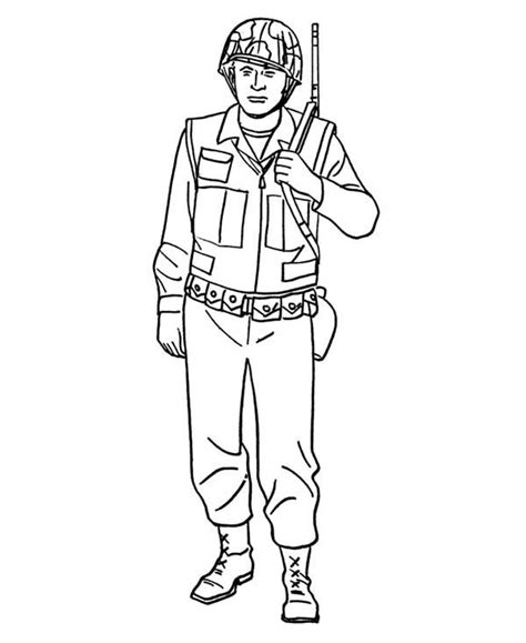 how to draw a soldier in armed forces day coloring page