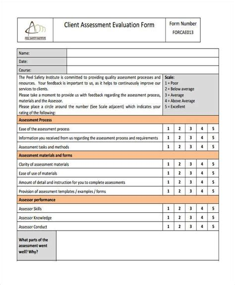 client evaluation form template 7 client assessment form sles free sle exle