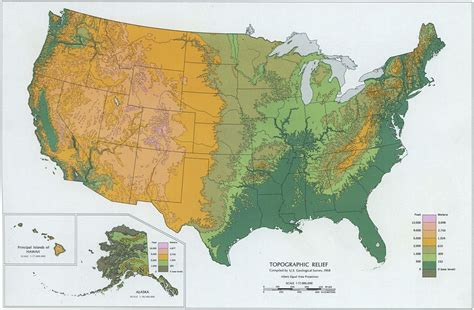 topographical map of usa states topographic relief map of the united states 1968