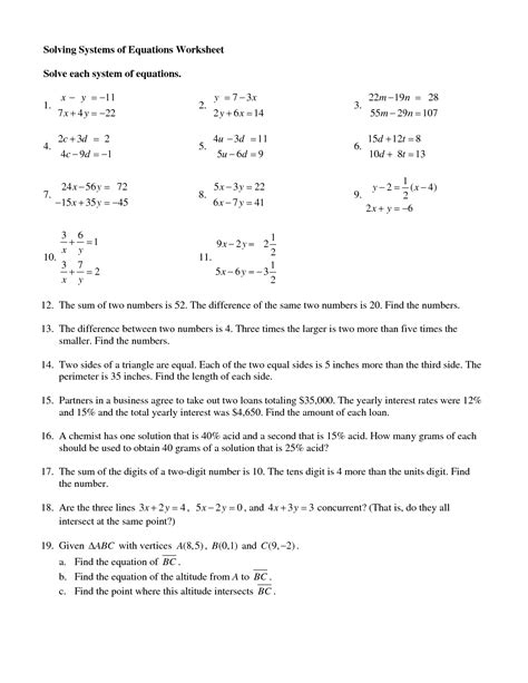 Solving Systems Of Equations By Elimination Worksheet by 15 Best Images Of Systems Of Equations Worksheets Printing