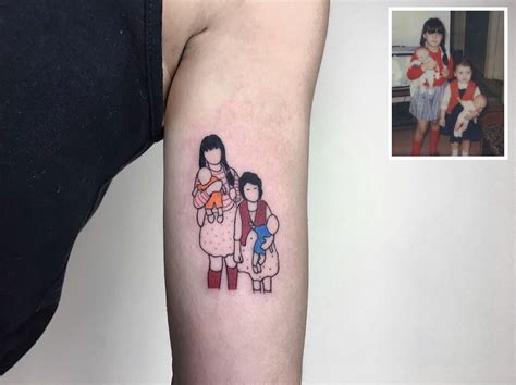 tattoo family photography artist turns your most nostalgic childhood pics into