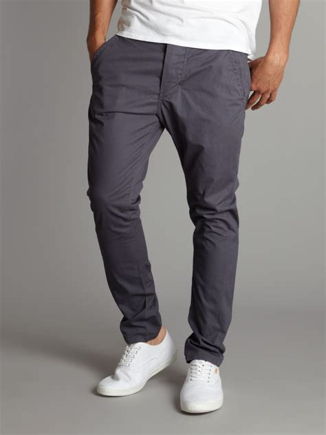 bench chinos bench twist leg skinny carrot chino trousers in blue for