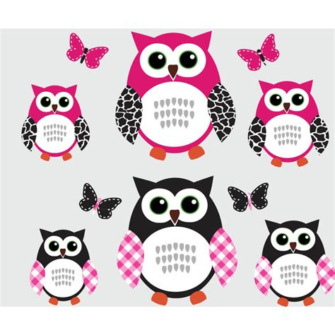 Animal Wall Stickers For Nursery pink and black owl art for kids with butterflies wall