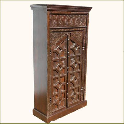 Small Armoire Closet Wood Brown Small Storage Armoire Wardrobe Closet