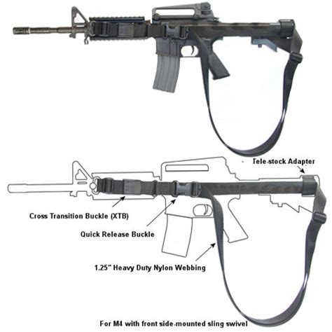 * m4a1 three point patrol sling with xtb and quick release