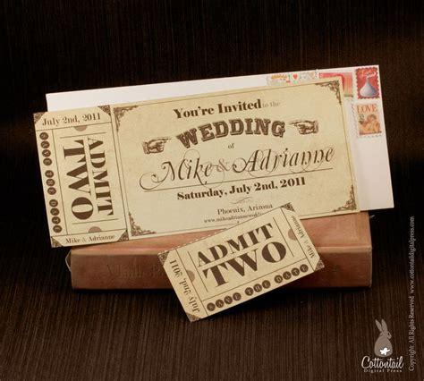 Hochzeitseinladung Eintrittskarte by Vintage Ticket Save The Date Or Wedding Invitation Set